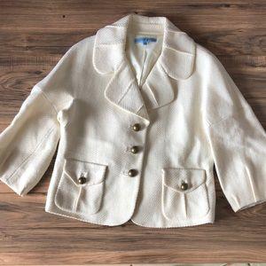 Antonio Melani sz 4 wool 3/4 sleeve ivory blazer